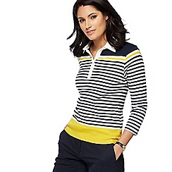 Maine New England - Navy striped collared top