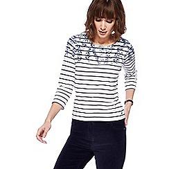Maine New England - White striped floral print yoke top