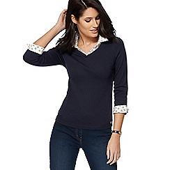 Maine New England - Navy daisy print mock shirt top