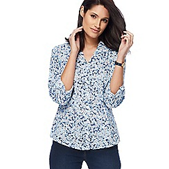 Maine New England - Light blue floral print shirt