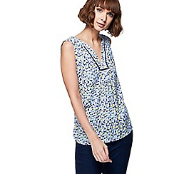 Maine New England - Yellow floral print notch neck top