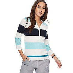 Maine New England - Multi-coloured block striped grandad collar top