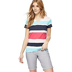 Maine New England - Multi-coloured striped notch neck top