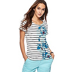 Maine New England - White striped floral print top