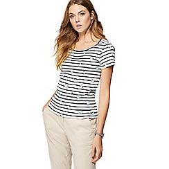 Maine New England - Multi-coloured striped daisy print t-shirt