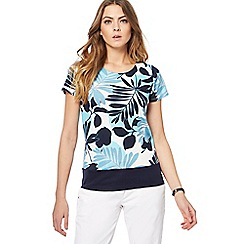 Maine New England - Bright turquoise palm print top
