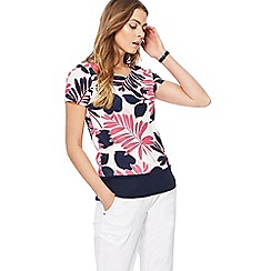 Maine New England - Bright pink palm print top