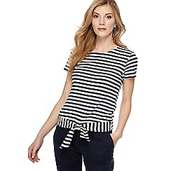 Maine New England - Black and white striped tie hem top