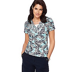 Maine New England - Bright turquoise leaf print top