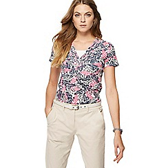 Maine New England - Bright pink leaf print top