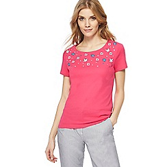 Maine New England - Pink floral embroidered yoke top