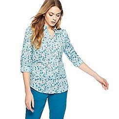 Maine New England - Green floral print shirt