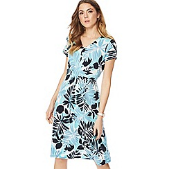 Maine New England - Bright turquoise palm print jersey V-neck knee length dress