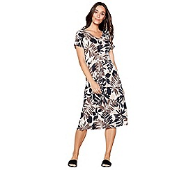 Maine New England - Navy palm print jersey V-neck knee length dress