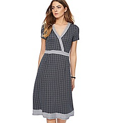 Maine New England - Navy geometric print jersey V-neck knee length wrap dress