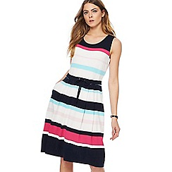 Maine New England - Bright pink striped print jersey knee length dress