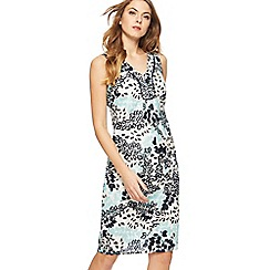 Maine New England - Multi-coloured leaf print V-neck knee length dress