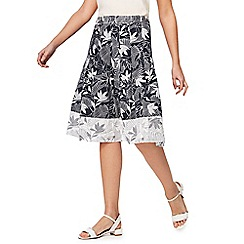 Maine New England - Navy palm print skirt