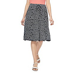 Maine New England - Navy leaf print jersey skirt