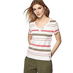 Maine New England - Natural stripe print V-neck t-shirt