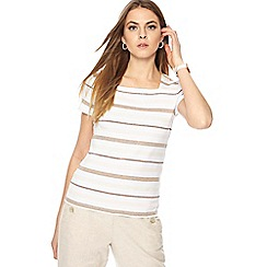 Maine New England - White striped short sleeve top