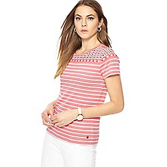 Maine New England - Pink striped short sleeve top