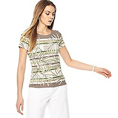 Maine New England - Multi-coloured palm leaf print jersey short sleeve top