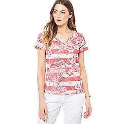 Maine New England - Mid rose floral print jersey V-neck top