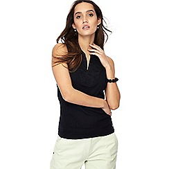 Maine New England - Black embroidered notch neck sleeveless top