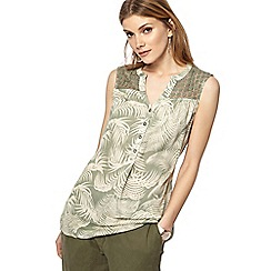 Maine New England - Khaki leaf print notch neck top
