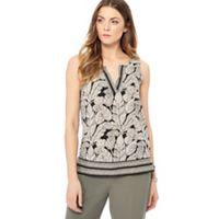 ad6426d203c77 Maine New England - Black leaf print notch neck sleeveless top