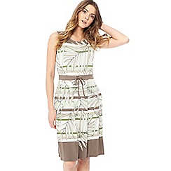 Maine New England - Brown and green palm leaf print jersey round neck knee length dress
