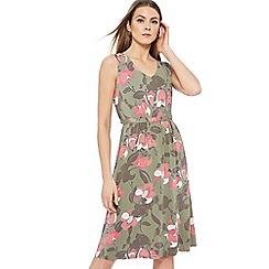 Maine New England - Mid rose floral print jersey V-neck knee length dress