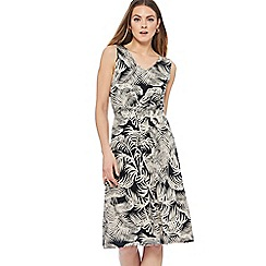 Maine New England - Black safari print jersey V-neck knee length dress