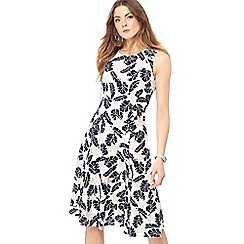 Maine New England - White tropical lily print round neck knee length dress