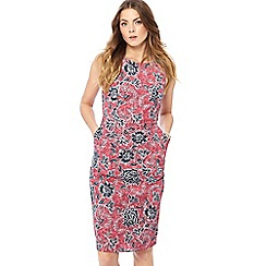 Maine New England - Pink floral print round neck knee length dress