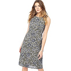 Maine New England - Khaki floral print round neck knee length dress
