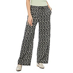 Maine New England - Black chevron print wide leg trousers