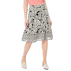 Maine New England - Black leaf print midi skirt