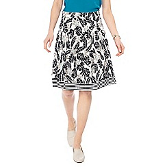 Maine New England - White palm print A-line skirt