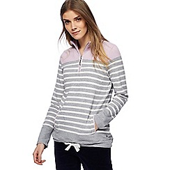 Maine New England - Grey striped zip neck sweatshirt