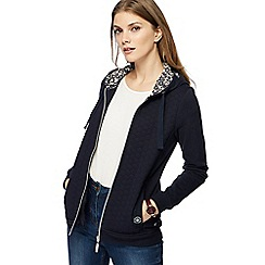 Maine New England - Navy quilted zip through hoodie