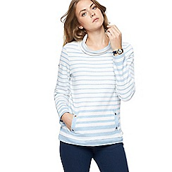 Maine New England - Light blue striped cowl neck sweater