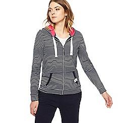 Maine New England - Navy striped zip through hoodie