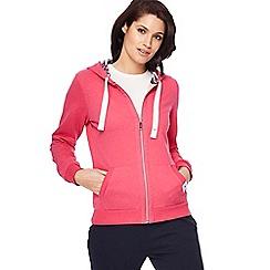 Maine New England - Bright pink zip through sweatshirt