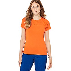 Maine New England - Orange broderie anglaise yoke top