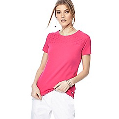 Maine New England - Bright pink broderie anglaise yoke top