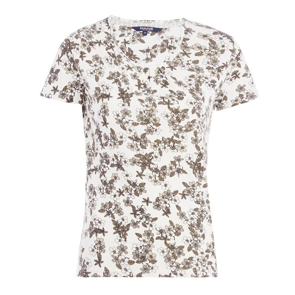Off print Maine New floral England top white wCzUTRq