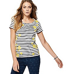 Maine New England - Multi-coloured striped floral print t-shirt