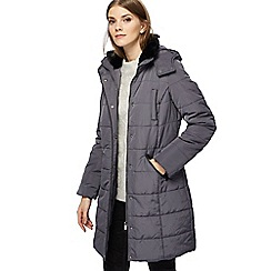 Maine New England - Grey faux fur trim longline puffer jacket